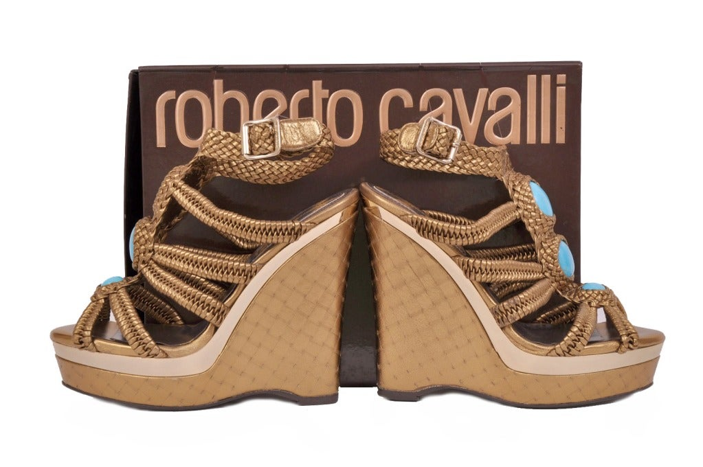 Roberto Cavalli nappa laminated wedge embellished with stones For Sale 1