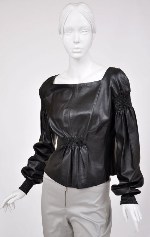 A/W 99 Tom Ford for Gucci Black Leather Top 3