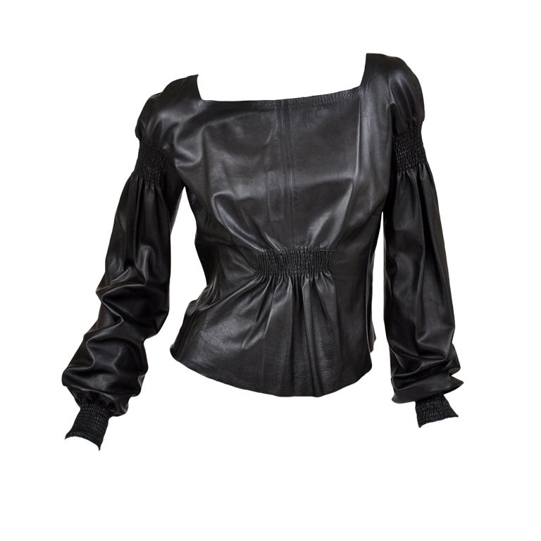A/W 99 Tom Ford for Gucci Black Leather Top 1