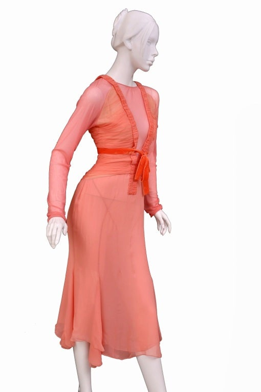 Tom Ford Grapefruit Silk and Tulle Dress 2