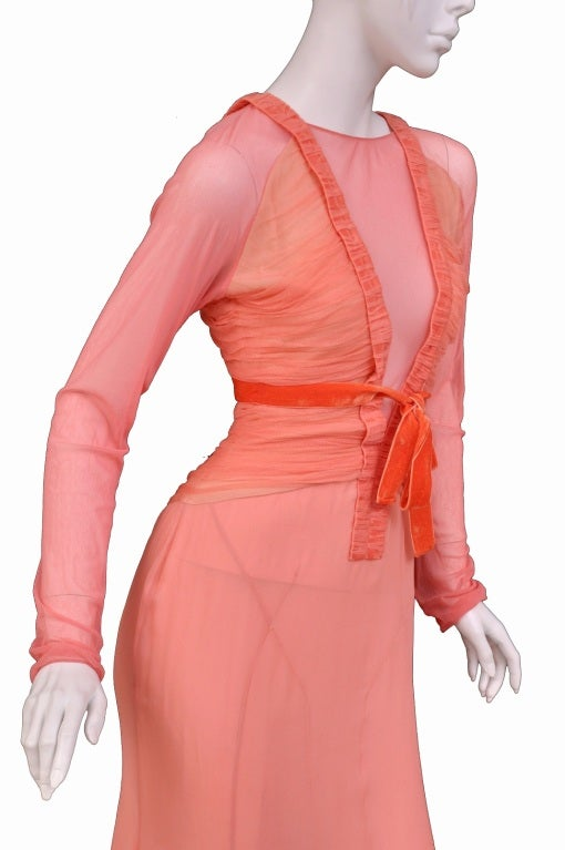 Tom Ford Grapefruit Silk and Tulle Dress 3