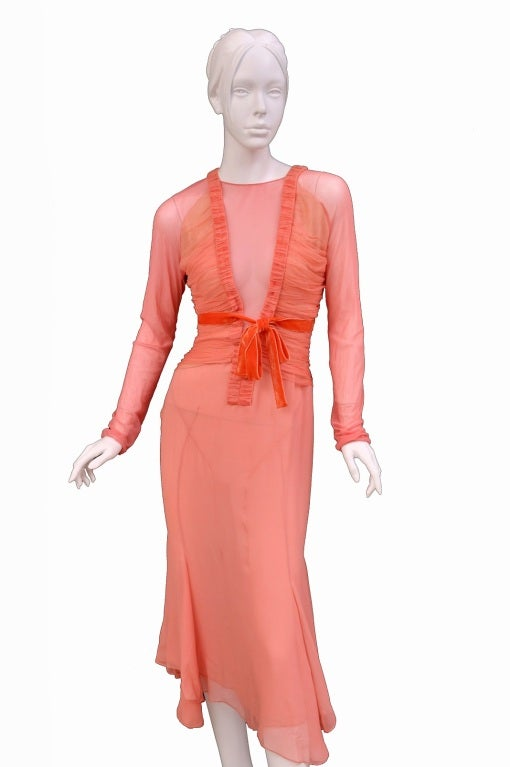 Tom Ford Grapefruit Silk and Tulle Dress 4