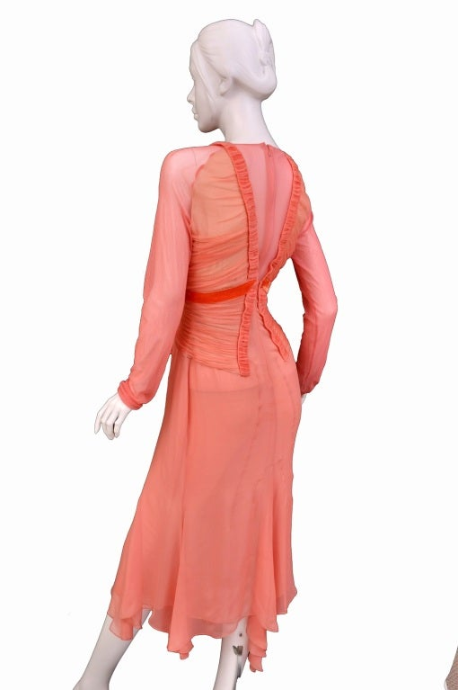 Tom Ford Grapefruit Silk and Tulle Dress 5