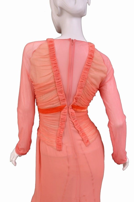 Tom Ford Grapefruit Silk and Tulle Dress 6