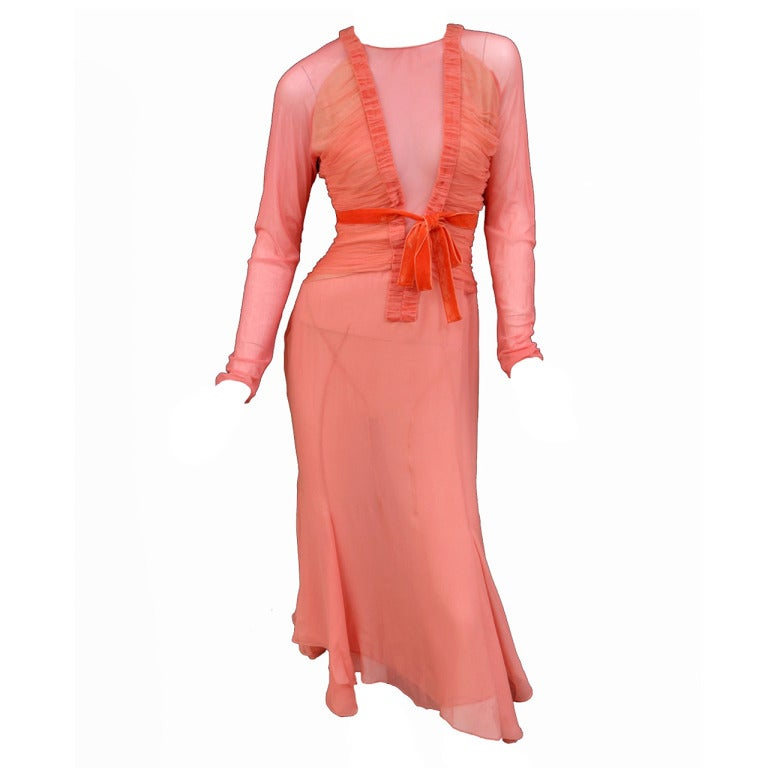 Tom Ford Grapefruit Silk and Tulle Dress