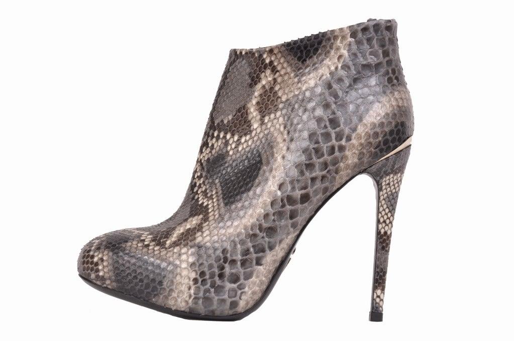 Gray Roberto Cavalli python hidden platform ankle boots For Sale