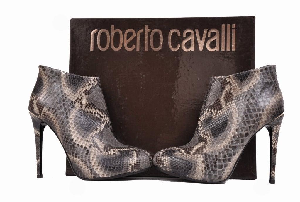 Roberto Cavalli python hidden platform ankle boots For Sale 1