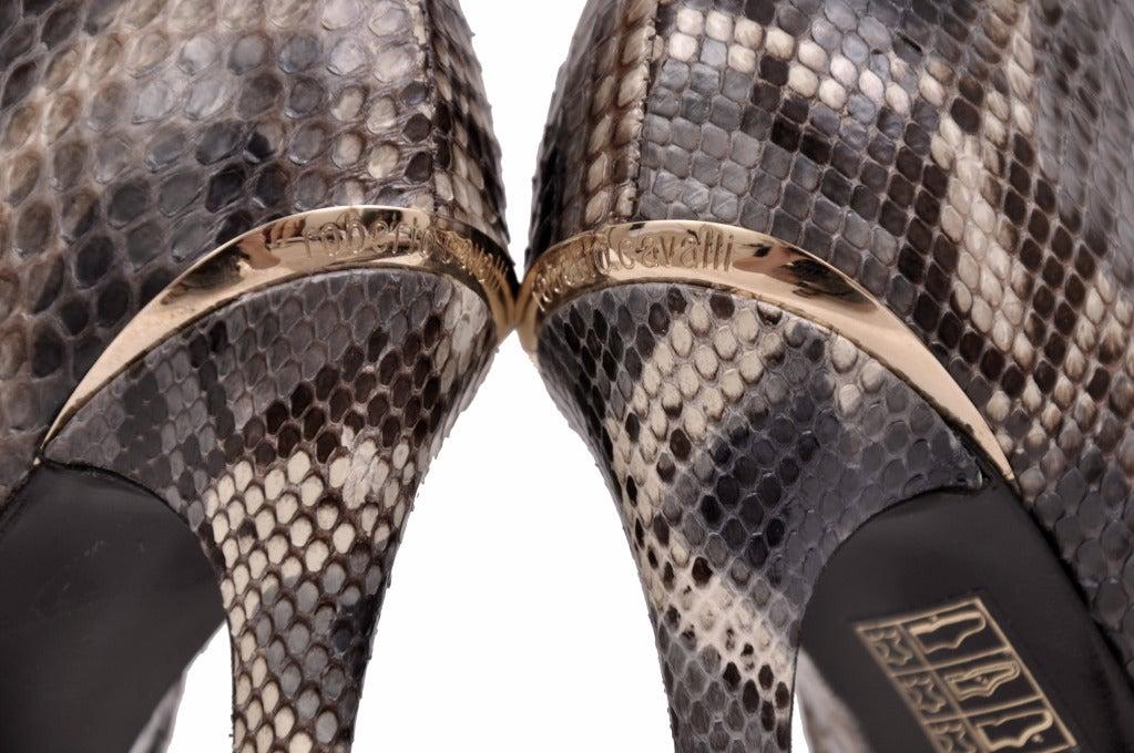 Roberto Cavalli python hidden platform ankle boots For Sale 2