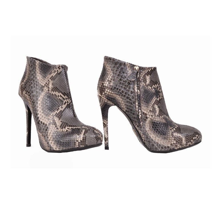 Roberto Cavalli python hidden platform ankle boots