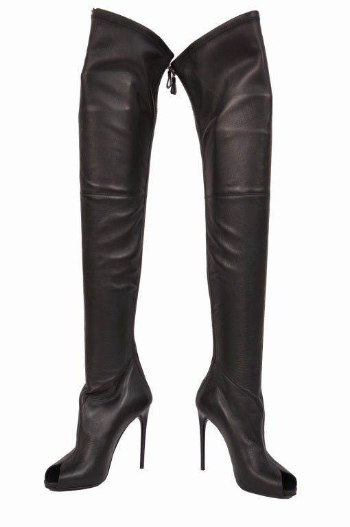 Tom Ford stretch-leather over-the-knee boots with open toe 2