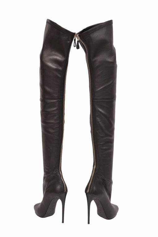 Tom Ford stretch-leather over-the-knee boots with open toe 3