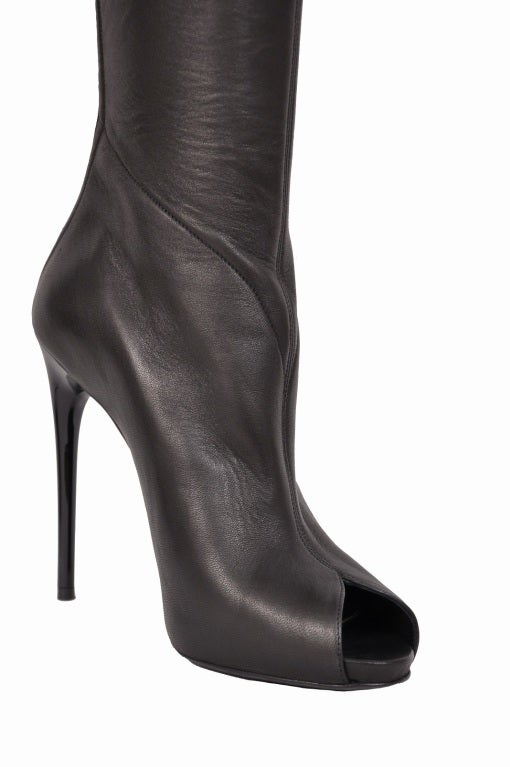 Tom Ford stretch-leather over-the-knee boots with open toe 4
