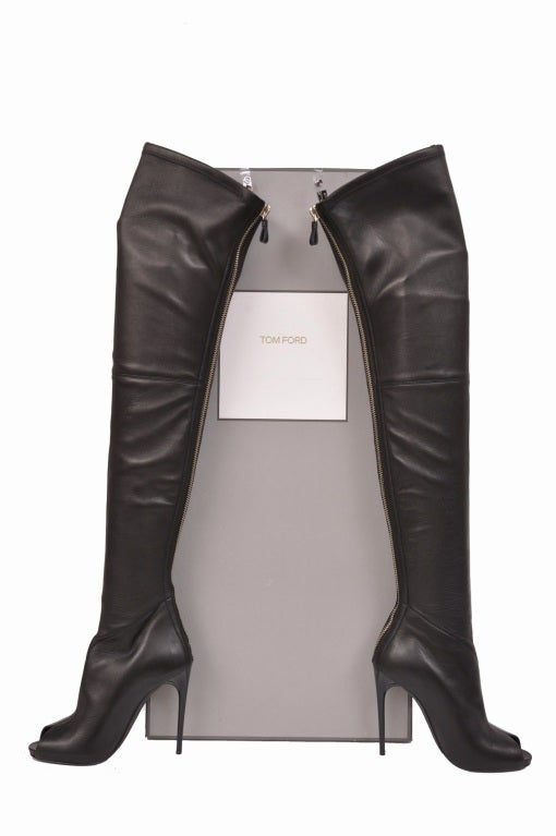 Tom Ford stretch-leather over-the-knee boots with open toe 5