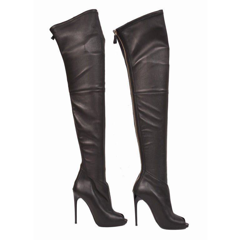 Tom Ford stretch-leather over-the-knee boots with open toe at 1stdibs