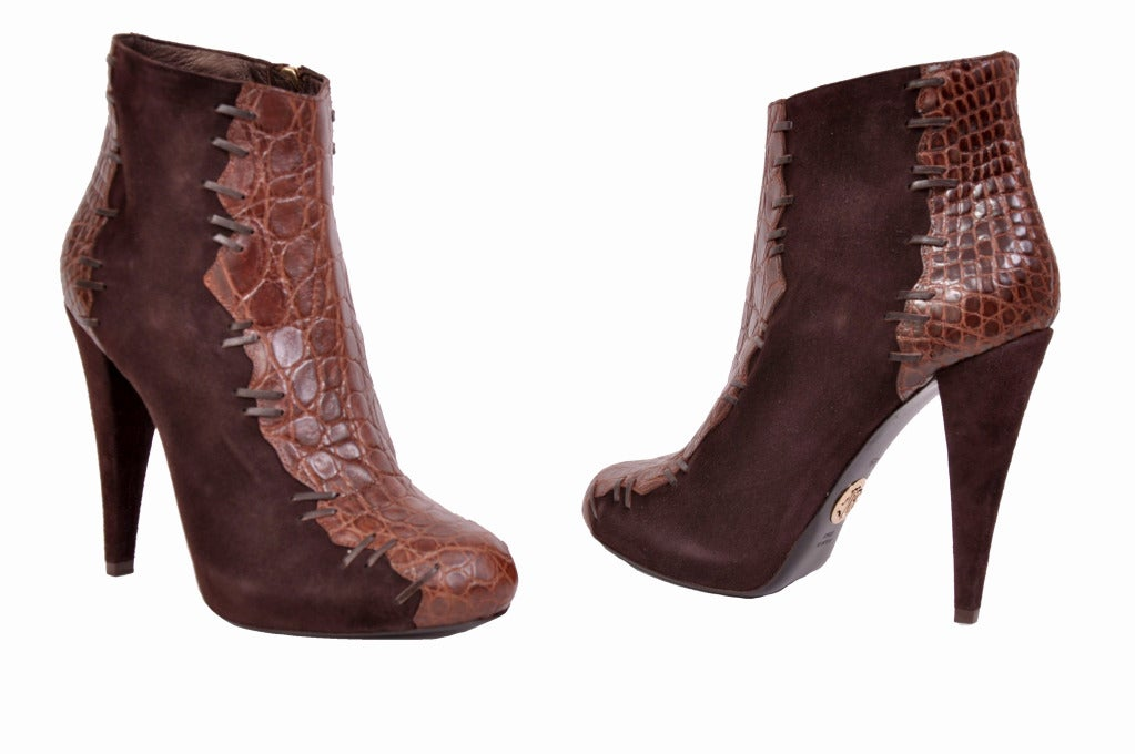 ROBERTO CAVALLI BOOTS  Alligator & Suede Leather Ankle boots  Lambskin leather Lining Color: Chocolate Brown  Made in Italy Sizes: 38 and 38.5  Brand new