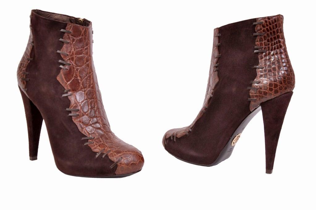 Roberto Cavalli brown alligator & suede ankle boots 2
