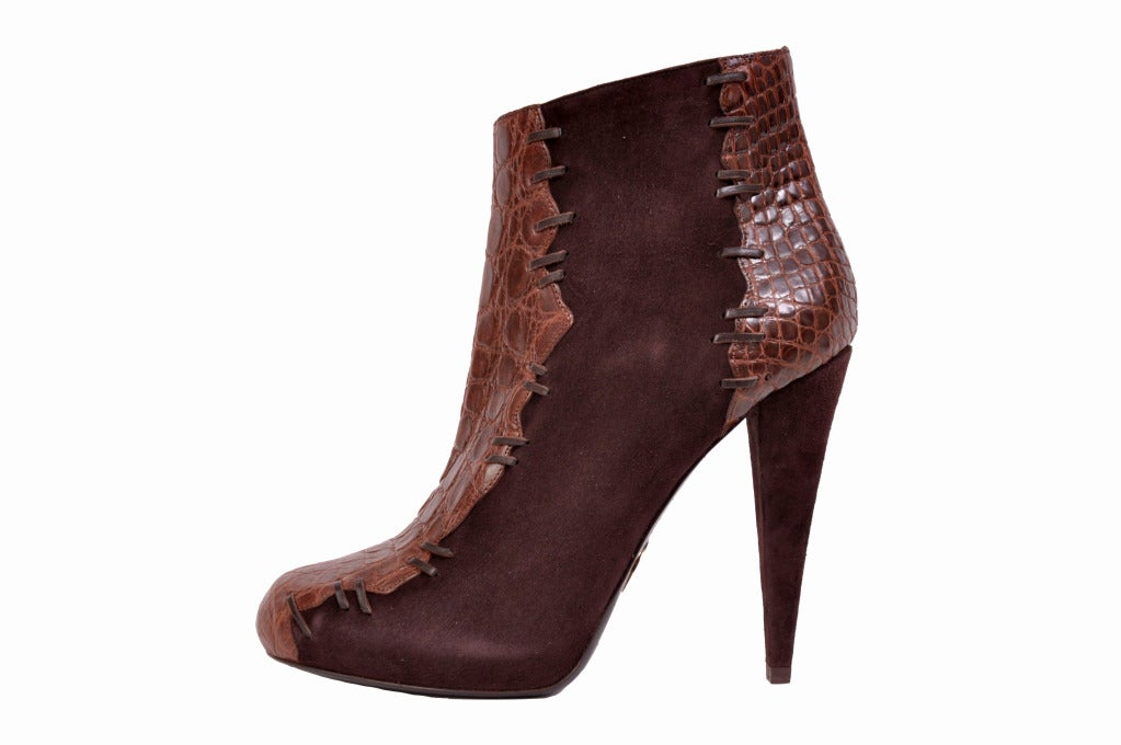 Black Roberto Cavalli brown alligator & suede ankle boots For Sale