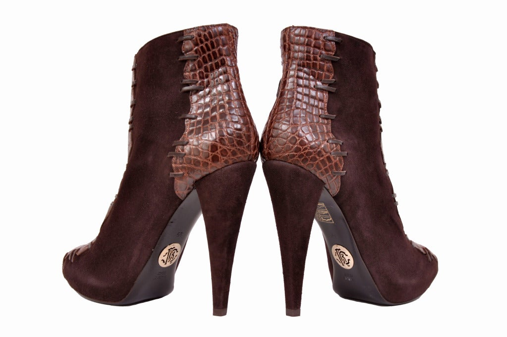 Women's Roberto Cavalli brown alligator & suede ankle boots For Sale