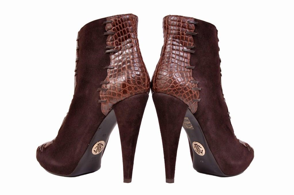 Roberto Cavalli brown alligator & suede ankle boots 5