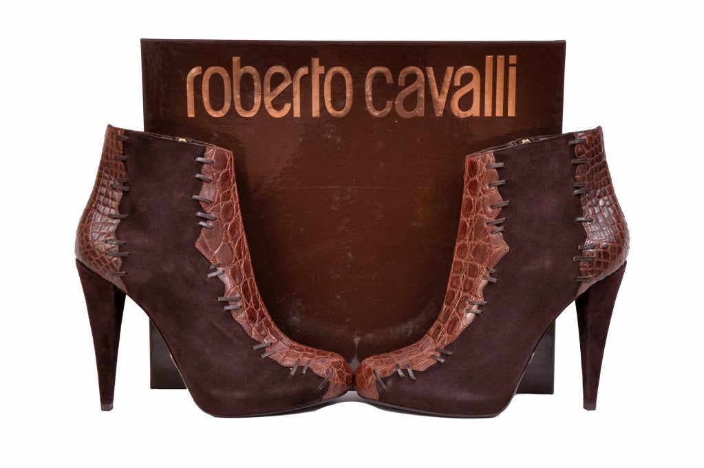 Roberto Cavalli brown alligator & suede ankle boots For Sale 1