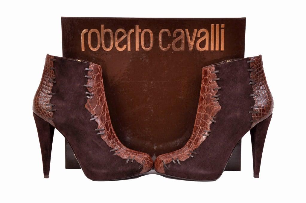 Roberto Cavalli brown alligator & suede ankle boots 6