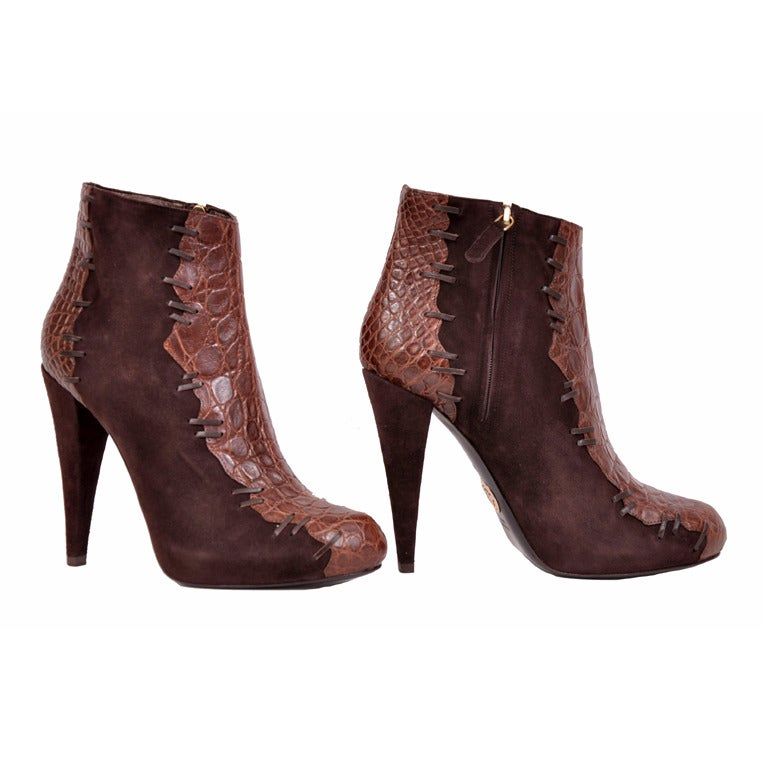 Roberto Cavalli brown alligator and suede ankle boots