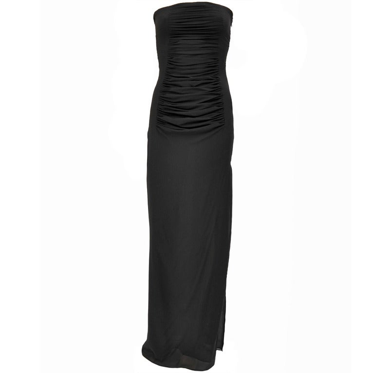 Tom Ford for YSL Black Silk Strapless Gown, S / S 2001