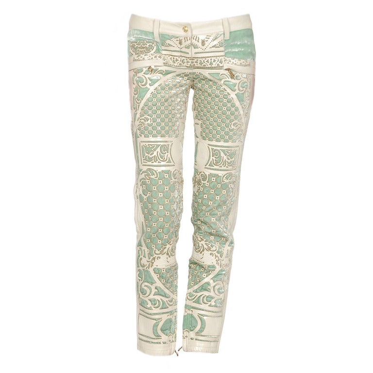 Pistachio Green Leather Sofa: Balmain White Leather Appliqué And Pistachio Green Velvet