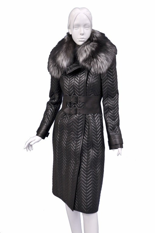$17,500 New TOM FORD BLACK QUILTED LEATHER COAT w/ FOX FUR COLLAR 3