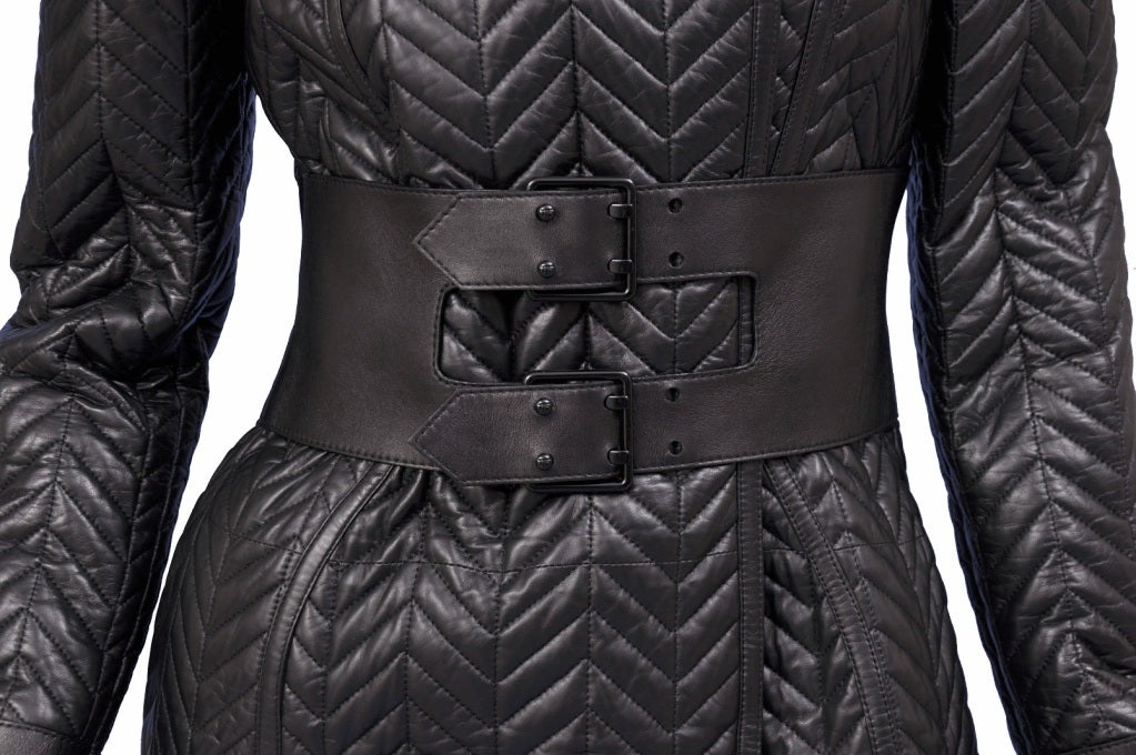 $17,500 New TOM FORD BLACK QUILTED LEATHER COAT w/ FOX FUR COLLAR 7