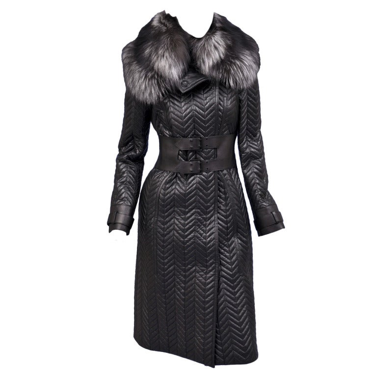 $17,500 New TOM FORD BLACK QUILTED LEATHER COAT w/ FOX FUR COLLAR 1