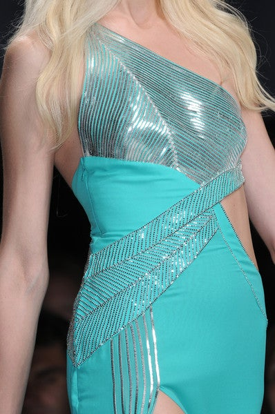 $18,450 New VERSACE AQUAMARINE EMBELLISHED ONE SHOULDER GOWN 10