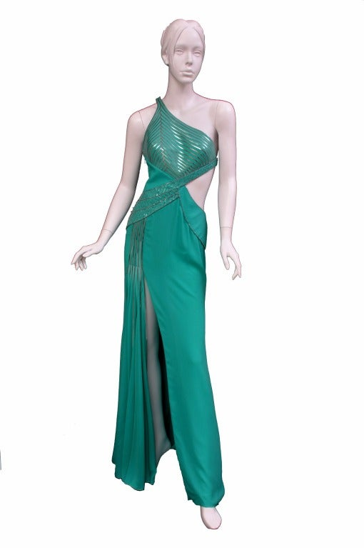 $18,450 New VERSACE AQUAMARINE EMBELLISHED ONE SHOULDER GOWN 2