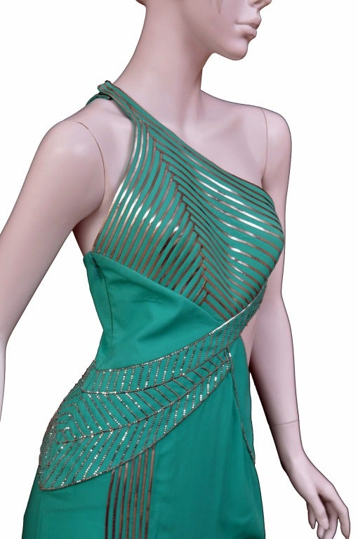 $18,450 New VERSACE AQUAMARINE EMBELLISHED ONE SHOULDER GOWN 3