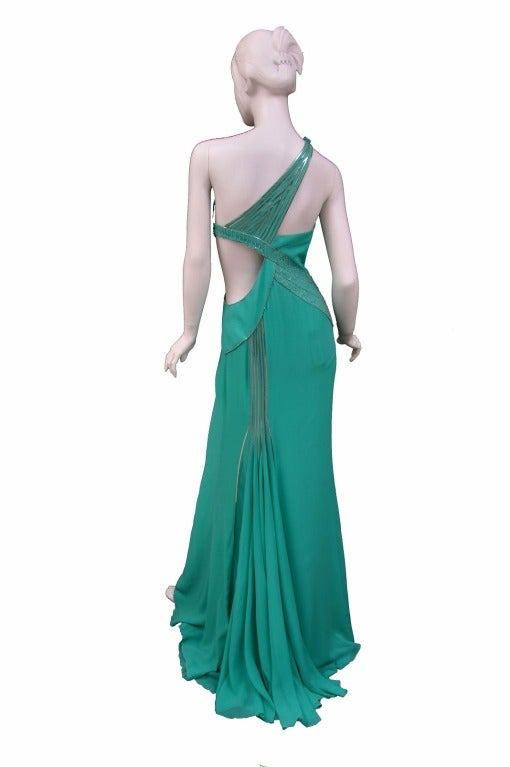 $18,450 New VERSACE AQUAMARINE EMBELLISHED ONE SHOULDER GOWN 4