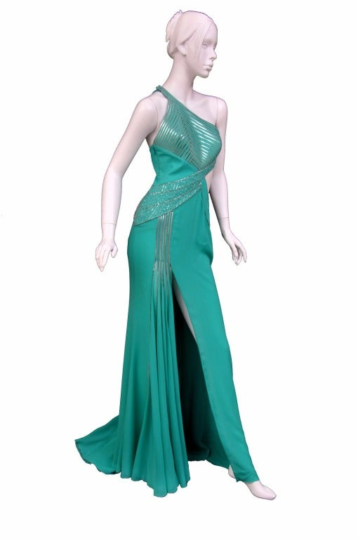 $18,450 New VERSACE AQUAMARINE EMBELLISHED ONE SHOULDER GOWN 5