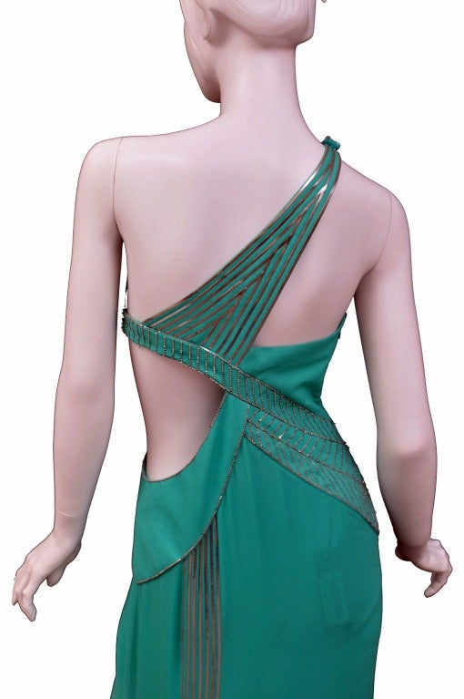 $18,450 New VERSACE AQUAMARINE EMBELLISHED ONE SHOULDER GOWN 6