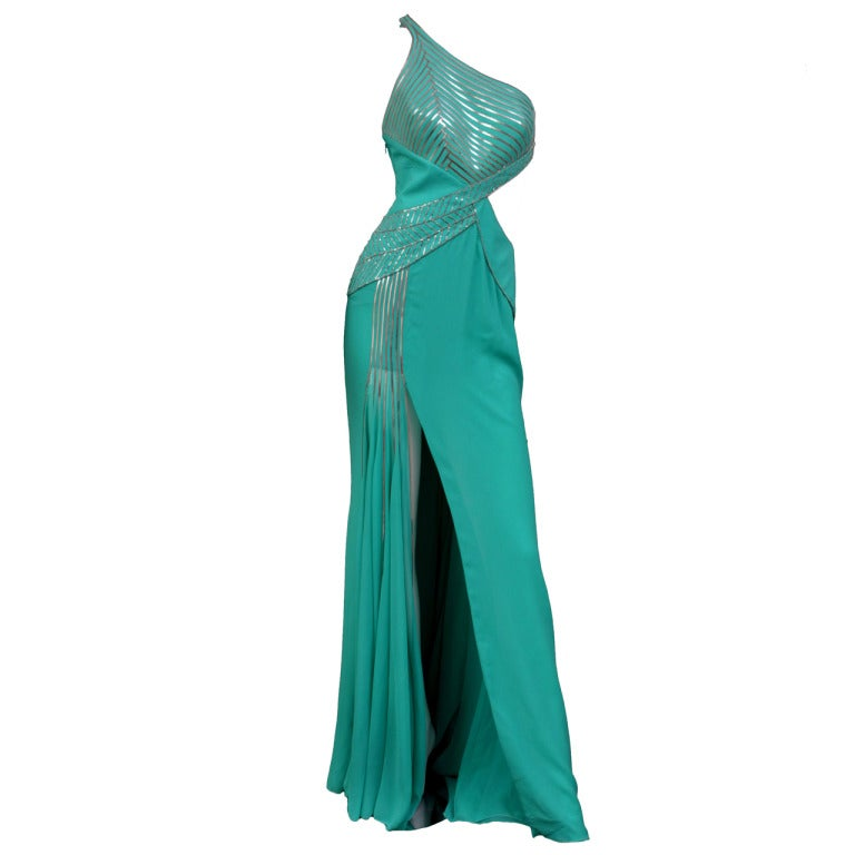 $18,450 New VERSACE AQUAMARINE EMBELLISHED ONE SHOULDER GOWN 1