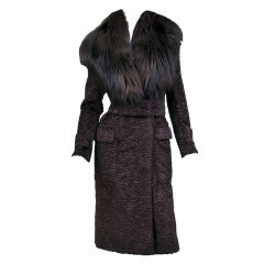 $17,380 New Tom Ford Marron Astrakan Velvet Coat with Fox Fur