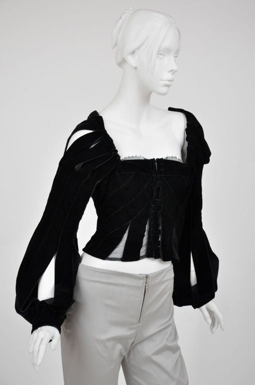 Tom Ford for Yves Saint Laurent Black Velvet Ribbon Corset, F/W 2002  In Excellent Condition For Sale In Montgomery, TX