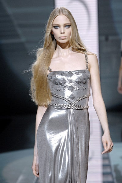 New Versace Chain Embellished Long Lame Dress 9