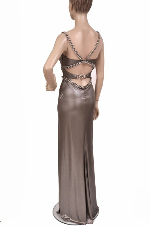 New Versace Chain Embellished Long Lame Dress 3