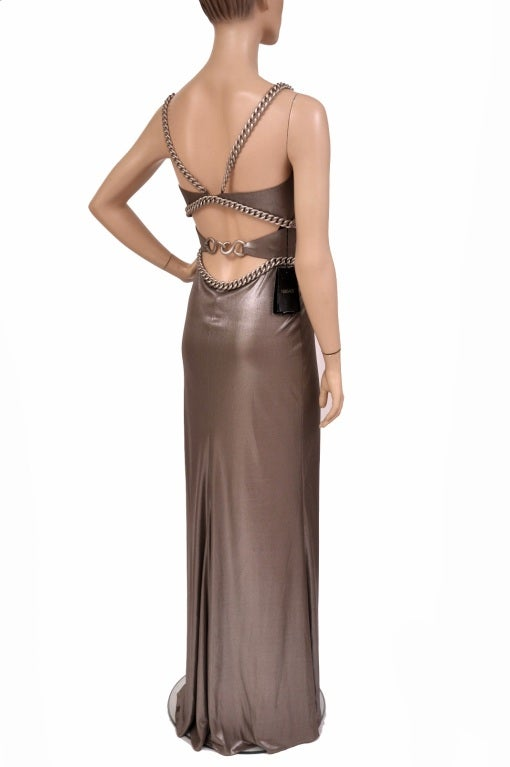 New Versace Chain Embellished Long Lame Dress 4