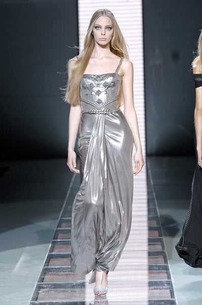 New Versace Chain Embellished Long Lame Dress 8