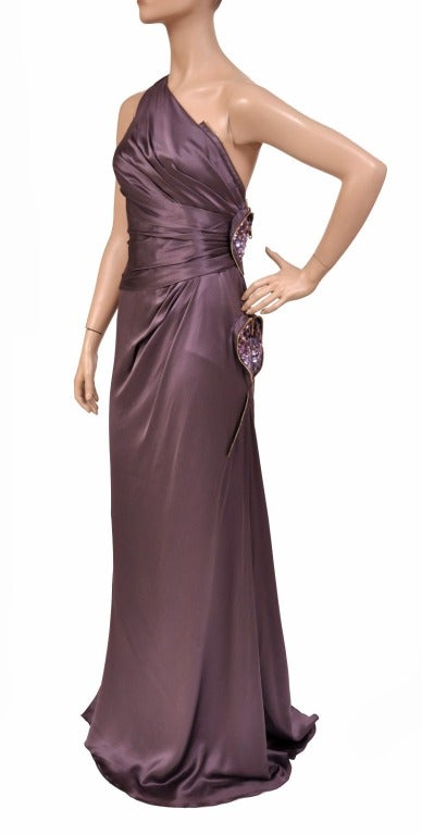 New Versace One Shoulder Gown With Hearts In New Condition For Sale In Montgomery, TX