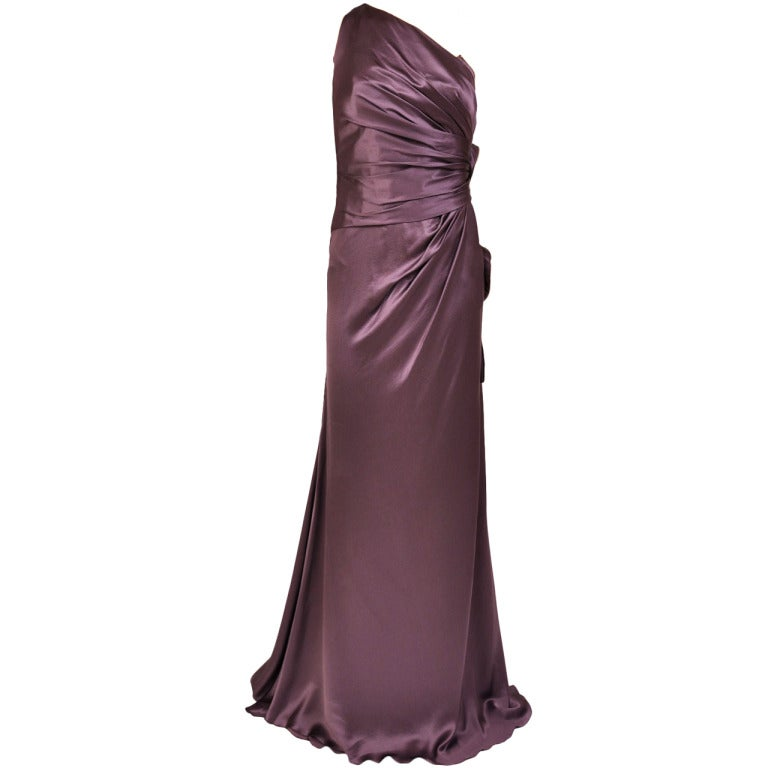 New Versace One Shoulder Gown With Hearts For Sale