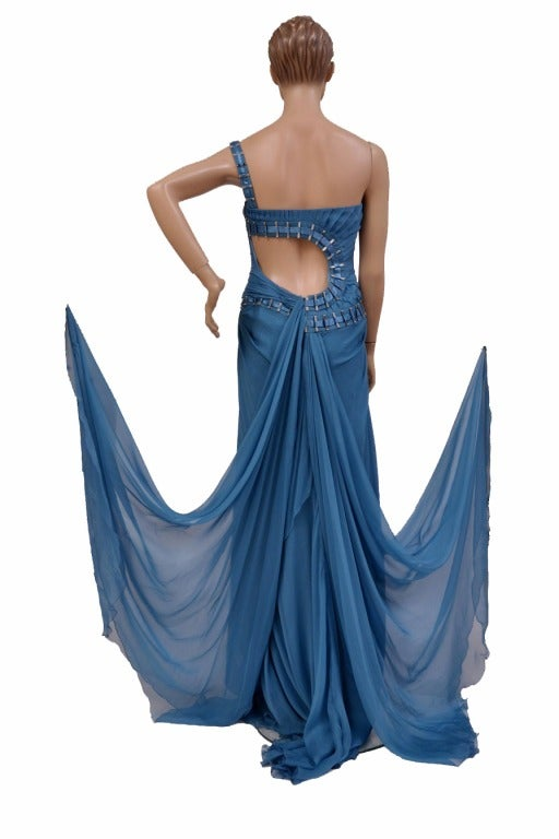 $12,310 New Versace One Shoulder Blue Silk Gown 10