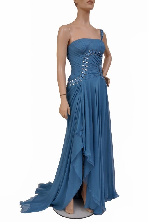$12,310 New Versace One Shoulder Blue Silk Gown 5