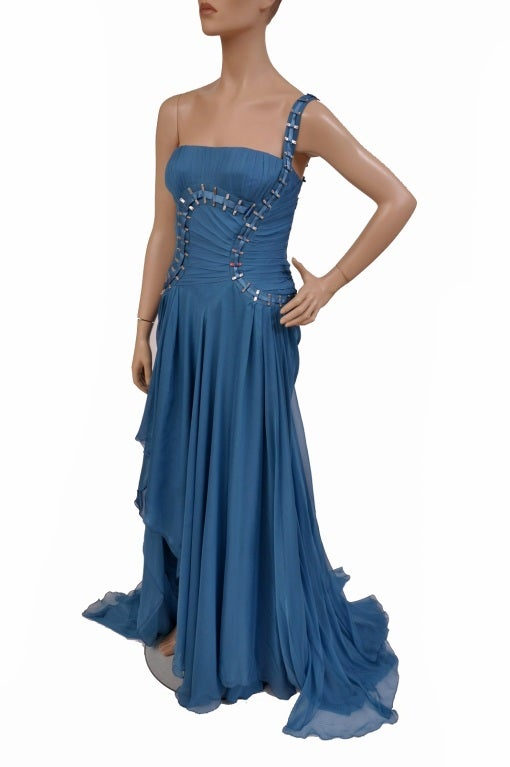$12,310 New Versace One Shoulder Blue Silk Gown 7