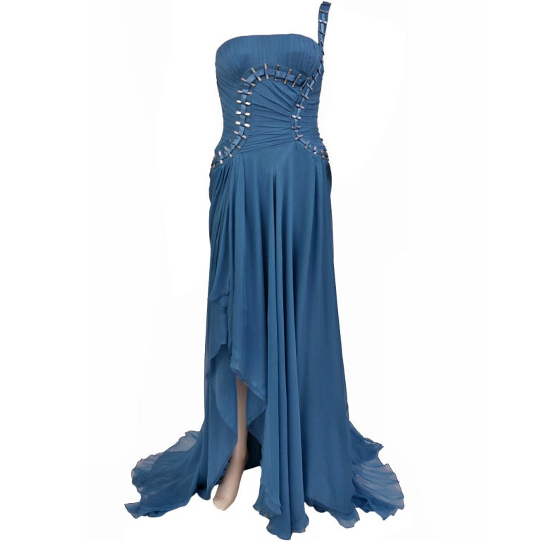 $12,310 New Versace One Shoulder Blue Silk Gown 1